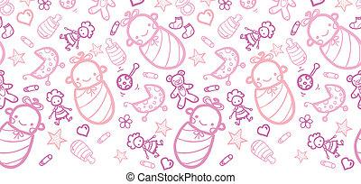 patrón, niñas, seamless, plano de fondo, bebé, horizontal,...