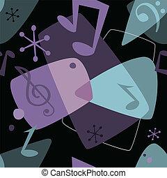 patrón, notas, música, seamless, retro