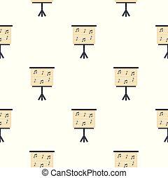 patrón, notas, seamless, atril, piano