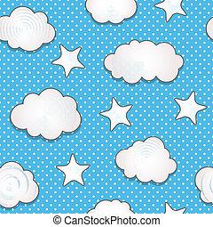 patrón, nubes, seamless
