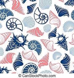 patrón, océano, seamless, conchas de mar