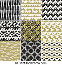 patrón, océano, seamless, onda