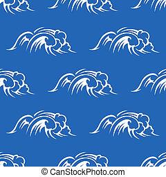 patrón, océano, seamless, ondas