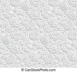 patrón, om, papel, seamless, 3d