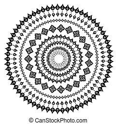 patrón, oriental, redondo, arabesco