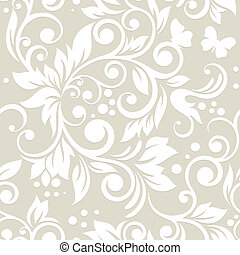 patrón, ornament., seamless, leaves., floral, flores