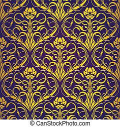patrón, oro, seamless, papel pintado