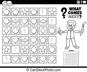 patrón, página, juego, colorido, niños, relleno, libro