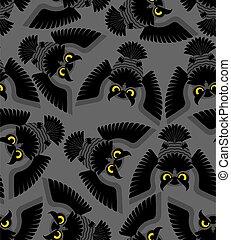 patrón, pájaro, eagle-owl, textura, fondo., bebé, ornament., vector, tela, seamless., búho