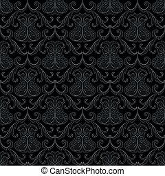patrón, papel pintado, negro, seamless