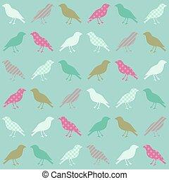 patrón, papel pintado, seamless, aves