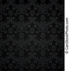 patrón, papel pintado, seamless, negro