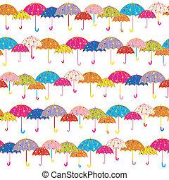 patrón, paraguas, seamless, colorido