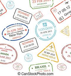 patrón, pasaporte, control, cachets, plano de fondo, ...