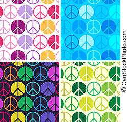 patrón, paz, colorido, seamless