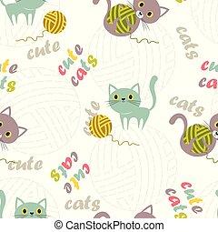 patrón, pelota, lana, gato