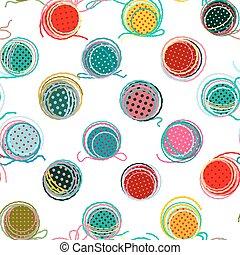 patrón, pelotas, colorido, seamless, hilo