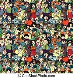 patrón, personas., feliz, seamless, reír