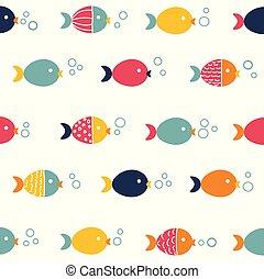 patrón, pez, seamless, colorido