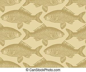 patrón, pez, seamless, (vector)