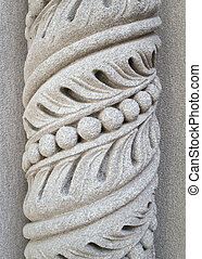 patrón, pilar de piedra, espiral, tallado