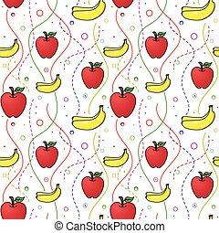patrón, plátanos, manzanas, seamless