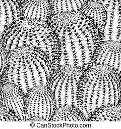 patrón, plantas, textura, cacto, plano de fondo, seamless