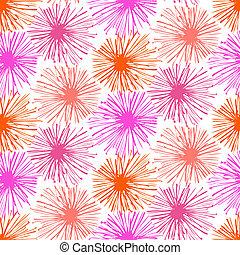 patrón, pompones, peludo, pequeño, flores, o