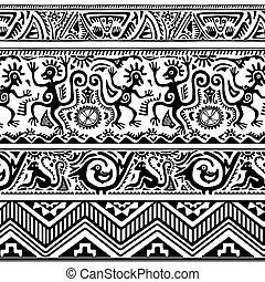 patrón, primitivo, arte, seamless, africano
