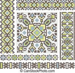 patrón, punto de cruz, étnico, diseño, ucrania