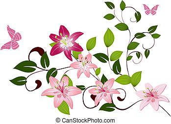 patrón, rama, flor, lirios
