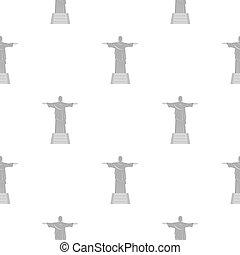 patrón, redentor, cristo, estatua, seamless