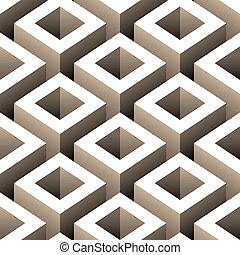 patrón, resumen, cajas, seamless, 3d
