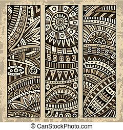 patrón, resumen, conjunto, tarjeta, étnico