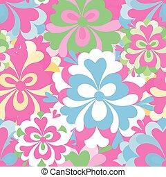 patrón, resumen, flores, delicado, seamless