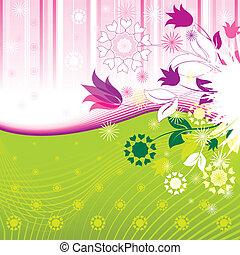 patrón, resumen, flores