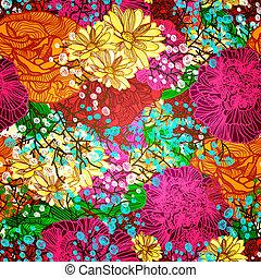 patrón, resumen, flowers., eps10, seamless