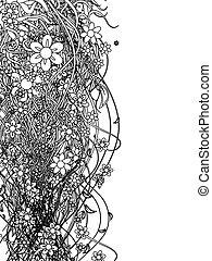 patrón, resumen, negro, diseño floral, su