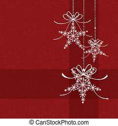 patrón, resumen, seamless, elegancia, navidad, copo de nieve, rojo