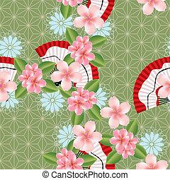 patrón, resumen, seamless, japonés