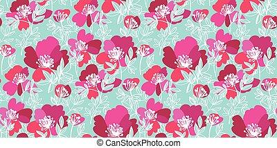 patrón, rosa, azul pálido, flores, elegante, peonía