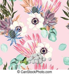 patrón, rosas, vector, protea, seamless