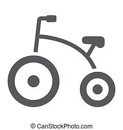 patrón, sólido, fondo., vector, gráficos, icono, bicicleta, blanco, glyph, niño, bicicleta, triciclo, señal