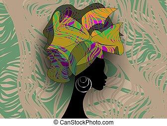Retrato Niña Africano Turbante étnico Almacen De Fotos E