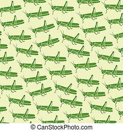 patrón, saltamontes, ilustración, vector, fondo verde