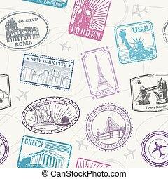 patrón, señales, mundo, famoso, monumentos