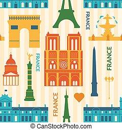 patrón, señales, seamless, colorido, francia