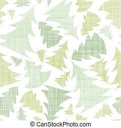 patrón, seamless, árboles, textil, siluetas, fondo verde,...