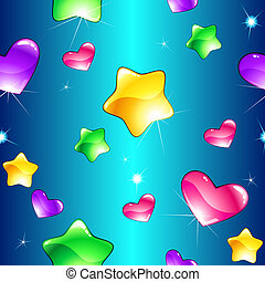 patrón, seamless, alegre, estrellas, corazones, brillante