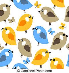 patrón, seamless, aves